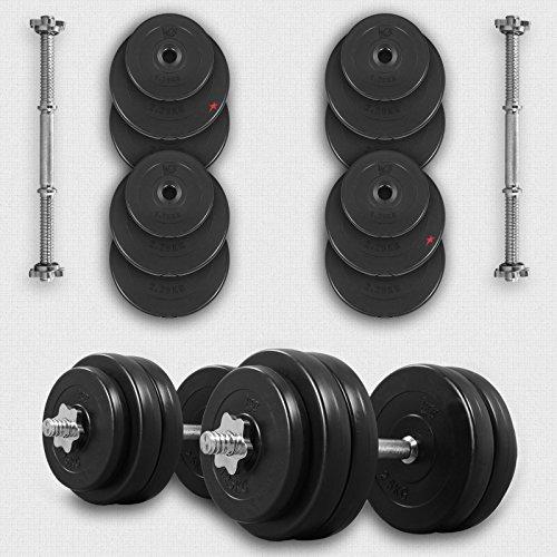 We R Sports® Set di manubri in Vinile, da 50 kg, per Palestra e Fitness, Pesi per bicipiti