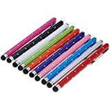 tinxi® 10er Pack Strass universal Stylus Stift Touch Pen Eingabestift Touchpen in verschiedenen Farben für alle Geräte mit kapazitiven Touchscreen Smartphone Handy PDA Tablet PC wie Apple iPhone 6 6 Plus 5s 5 4s 4 Samsung Galaxy S6 S5 S4 S3 mini i8190 S4 mini S5830 S5830i S5360 Galaxy Note 4 3 Alcatel One Touch Pop C7 Sony Xperia Nokia Lumia 630 LG Google Nexus HTC Huawei Xiaomi / iPad Air iPad mini 2 Samsung Galaxy Tab 4 2 Tab 3 lite 7.0 Tab 3 10.1 P5200 Acer Iconia B1 A510 A511 A700 Asus Odys Sony Lenovo u.v.a...