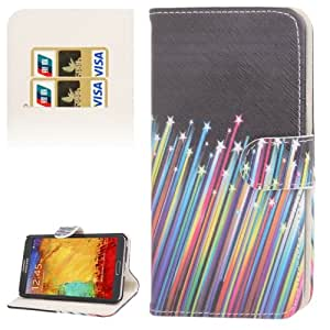 Colorful Meteor Pattern Leather Case with Credit Card Slots & Holder for Samsung Galaxy Note 3 N9000