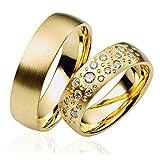 2 x 333 Gold Eheringe Partnerringe Trauringe Hochzeitsringe in Gelbgold *mit Gravur und Swarovski* LC96