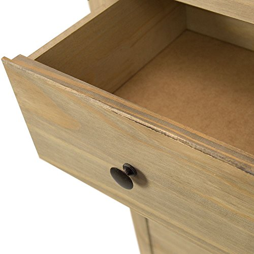 Home Discount Panama 5 Drawer Narrow Chest In Natural Wax Oak Solid Pine Bedroom Furniture