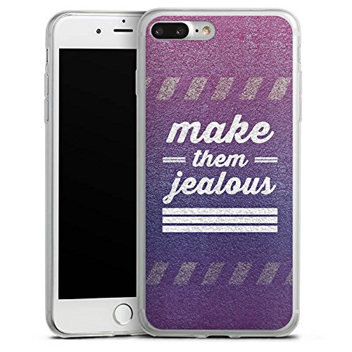 Apple iPhone 8 Plus Slim Case Silikon Hülle Schutzhülle Jealous Lila Motivation Silikon Slim Case transparent
