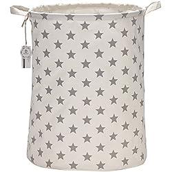 Mer équipe 50cm Taille L Revêtement Imperméable Tissu Ramie coton cylindriques Seau Panier à linge pliable toile Panier de rangement en toile avec élégant motif étoiles