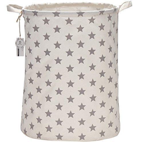 Cesto para guardar ropa sucia . Es plegable con forro impermeable, gran tamaño (50 cm), de algodón, ramio, lona y arpillera y con forma de cubo cilíndrico y moderno de estrellas crises