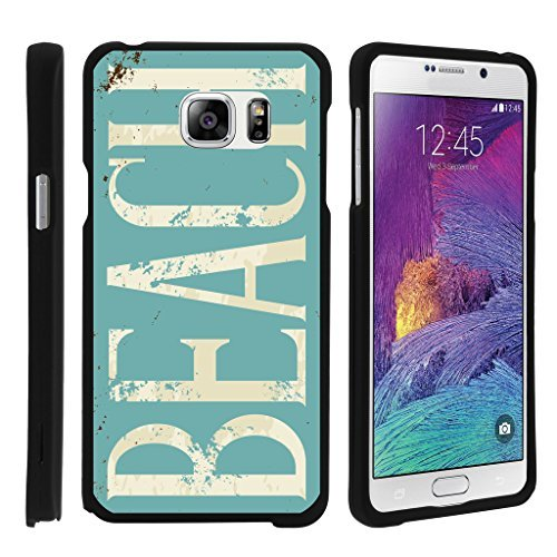 turtlearmor | Kompatibel für Samsung Galaxy Note 5 Fall | N920 [Geringe Duo] Ultra kompaktes Slim Hard Cover Matt Snap auf Shell Displayschutzfolie auf Schwarz Beach Design -, Beach Logo