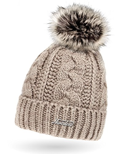 Neverless Damen Strick-Mütze gefüttert mit Fell-Bommel, Kunstfell, Winter-Mütze, Bommelmütze, hell-beige Unisize