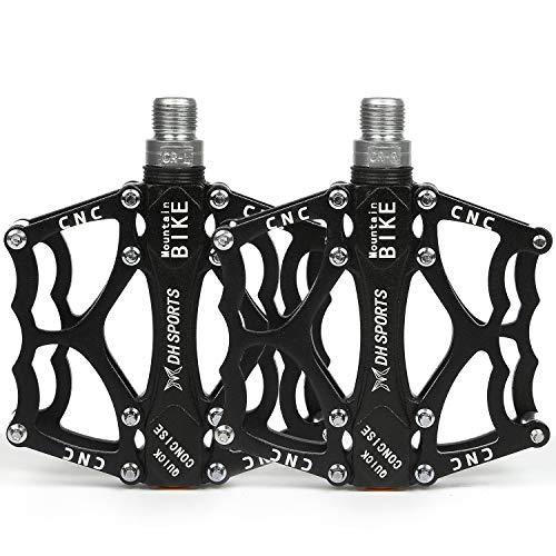 Shiney Fahrradpedale, CNC Aluminium Alu Road Mountain Bike Lager Pedale mit Super Light Stable Plat mit Anti Rutschpedal, Trekking Pedale (ein Paar) für Mountainbike, Rennrad, Stadtrad (schwarz)