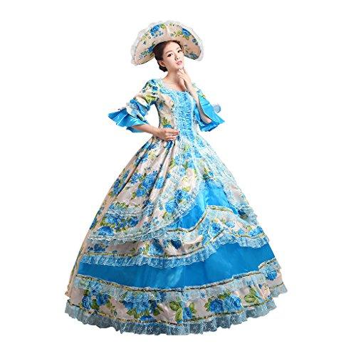 Cosplayitem Damen Mädchen Lagerter Gothic viktorianischen Kleid Kostüm Abendkleid Palace Maskerade Königin Prinzessin (Kostüme Königin Mädchen Renaissance)