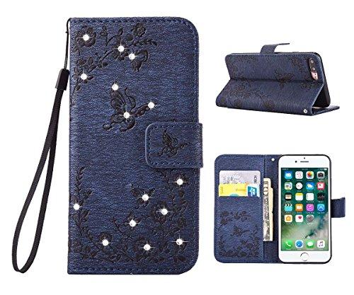 "MOONCASE iPhone 7 Plus Hülle, Premium Leder Schutzhülle [Blumen Schmetterling Serie] PU Leder Flip Handyhülle Tasche Case für iPhone 7 Plus 5.5"" Saphir Saphir"