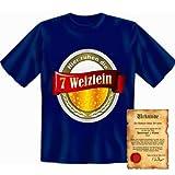 lustiges Sprüche T-Shirt + Spass Urkunde: Hier ruhen die 7 Weizlein - witziges Funshirt Geschenk Herren Geburtstag Spaß