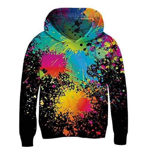 NEWISTAR Ragazzi Felpa con Cappuccio Unisex 3D Stampato Sweater Pullover Felpa per Bambini e Ragazzi 3-4 Anni