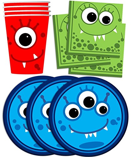 Mighty Monster Birthday Party Supplies Set Plates Napkins Cups Tableware Kit for 16