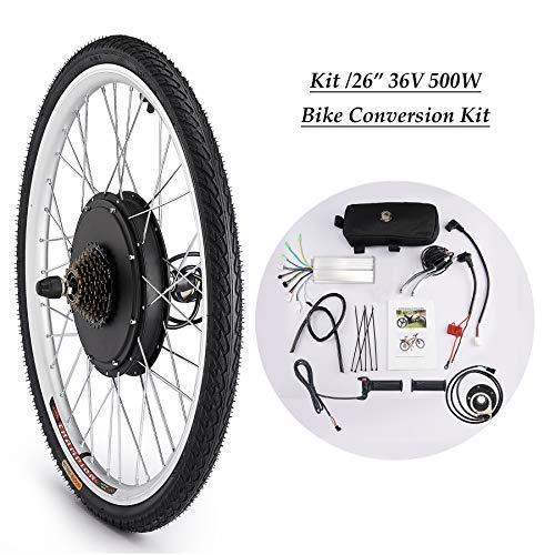 CO-Z 26 Zoll 36V 500W Elektrisches Fahrrad-Umbausatz E-Bike Conversion Kit Elektrofahrrad Motor Umbausatz Bürstenlose Motornabe (Hinterrad)