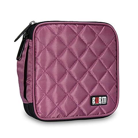 BUBM Portable Water resistant 32 Disc Storage Bag for CD DVD VCD DJ Holder Wallet Case - Violet