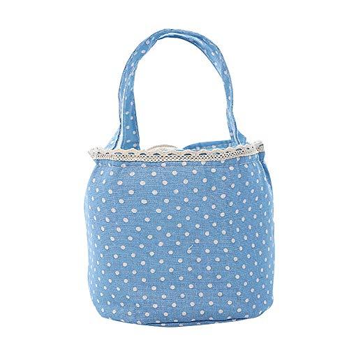 ZLZL Lunch Box Thermoisolierte Lunch-Tasche Aus Segeltuch Mit Streifen GroßE, KüHlere Einkaufstasche SüßE Lunch-Tasche Aus Segeltuch Aus Baumwolle Und Leinen,Blue