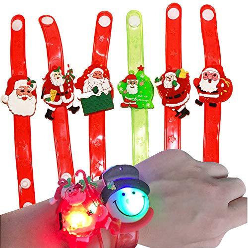FineInno 12 Stück Weihnachten LED Armbänder Christmas Glow Wristband leuchtstäbe knicklichter Flashing Toy Blinkend Ringe Partylichter Spielzeug für Täntze, Musikfestival,zufälliger Stil