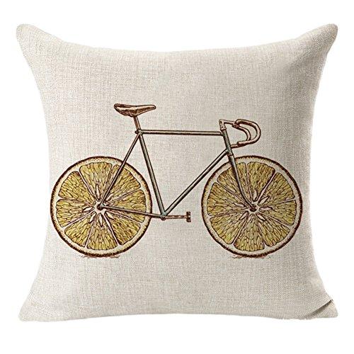 BIGBOBA Leinen Sofakissen-Bezug Cartoon Obst Fahrrad Muster Weicher Dekorativ Sofa Kissenbezug Kissenhülle 45*45cm