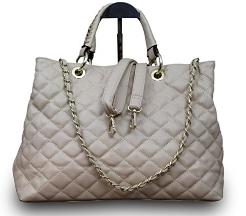 Made in Italy Damentasche Clutch Party Bag Nappa Leder gesteppt Beige -