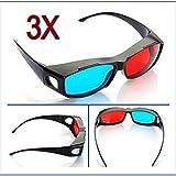 Direct-3D-Brille - 3D Vision Ultimate 3D-Brille - passt über eine Brille[Gruppe] 3D rote und blaue Brille 3 Stücken