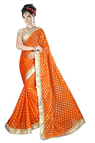 Onlinehub Georgette Saree With Blouse Piece (_Orange_Free Size)