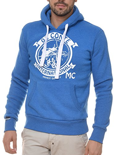 M.Conte Men Sweat-Shirt Zip Felpa da Uomo Giacca Jacket Romeo blue, Size XXL