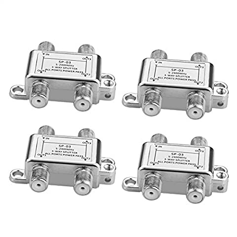 SIENOC SAT Verteiler Voll geschirmt (3-Wege), 5-2400 MHz / digital-tauglich   SAT splitter/distributor (3-way)   3-fach Verteiler für Satelliten-Anlagen (SAT-TV / DVB-S2) + BK + UKW Hörfunk (Radio)   DC-Durchlass   5-2400 MHz Frequenzbereich   Erdungsanschluss   Satelliten Verteiler (4 Stück SAT-Verteiler (Sat Anlage Verteiler)