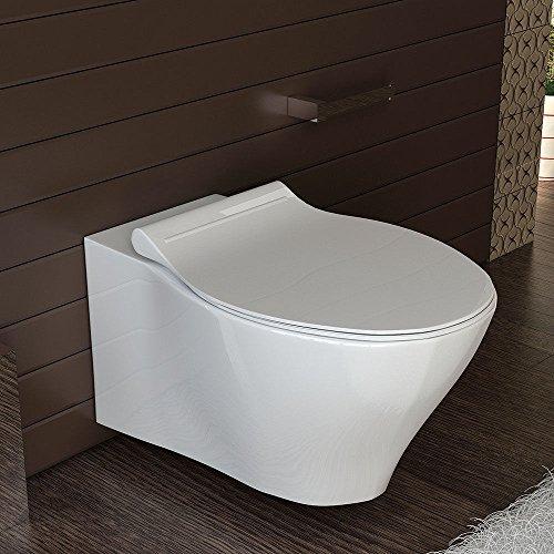 Keramik Hänge WC Spülrandlos Toilette inkl. Duroplast WC-Sitz abnehmbar mit Softclose, passend zu GEBERIT Wand WC ohne Spülrand - 6