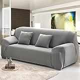 Sofabezug oder Schonbezug aus elastischem Stretch, grau, 3-Sitzer