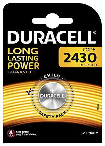 Duracell CR2430 /DL2430 Specialty Lithium-Knopfzelle 3V (entwickelt für die Verwendung in Schlüsselanhängern, Waagen, Wearables und medizinischen Geräten) 1er-Packung 3v Lithium Alarm