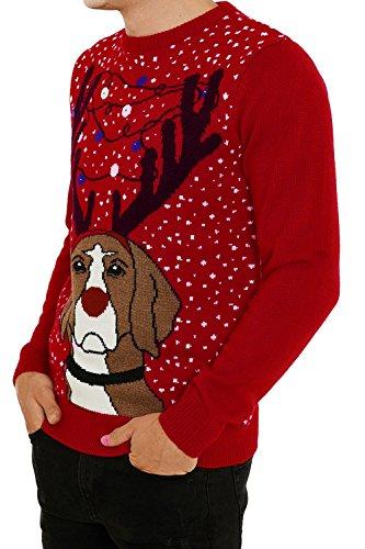Erwachsene Threadbare Designer Neuheit Leuchtend 3D Weihnachten-jumper Grumpy Dog - Red