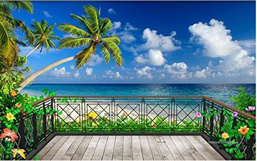r Benutzerdefinierte Wandbild 3D Raum Tapete Balkon Strand Hintergrund Wand Foto 3D Wandbilder Tapeten (Strand-szene Hintergrund)