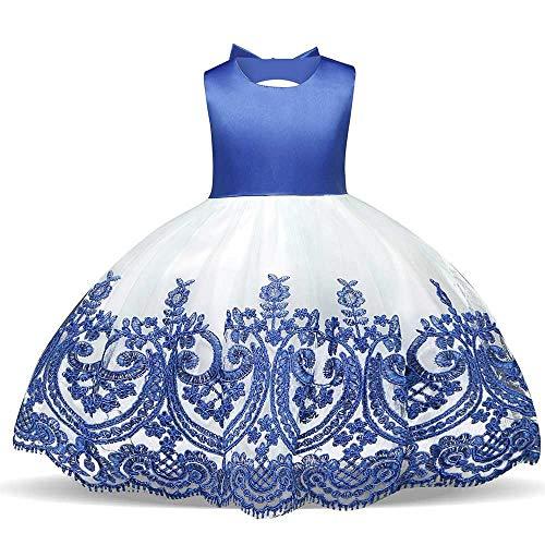 Frauenkleid Mädchen Schulterfrei Bowknot Prinzessin Kleid Satin Blumenmädchen bestickte Klavier Performance Kleidung 3-8 Jahre (Color : Blue, Size : 1Y) Blue Bubble Kleid