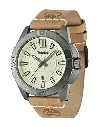 Timberland Men's Quartz Watch with Beige Dial Analogue Display and Brown Leather Strap 14532JSU/07