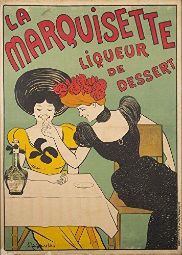 The Poster Collective Vintage LA Marquisette Store Likör de Dessert Cappiello Art Nouveau Poster 59,4cm x 84,1cm A1Größe Qualität Druck, Holz, bunt, 84,1x 59,4x 84,1cm
