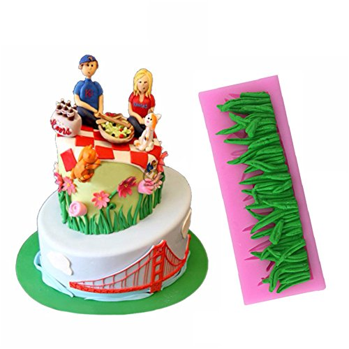 Preisvergleich Produktbild grünen Rasen Silikon Form Fondant Kuchen 3D Backform DIY Backmatte Tools Tablett ZUCKER Schokolade Kuchen Decor Küche Supplies