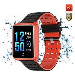 CanMixs CM05 Montre Connectée SmartWatch IP68 Étanche Écran Tactile Bracelet Fitness Tracker Bracelet Activité avec Moniteur de fréquence Cardiaque Podomètre Compteur De Calories pour iOS Android