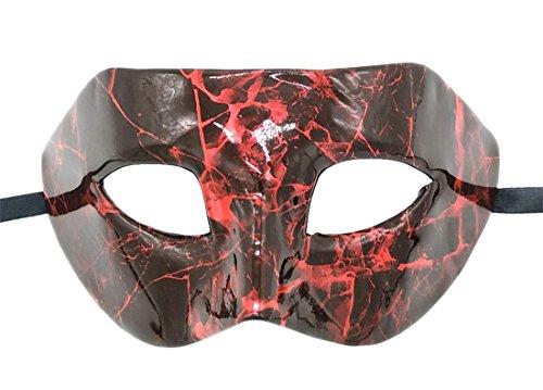 Flywife Hombres Mascarada Máscara Cuero Patrón de Mármol Agrietado Retro Bola de Fiesta Veneciano Romano Halloween Mardi Gras Máscara (Rojo)