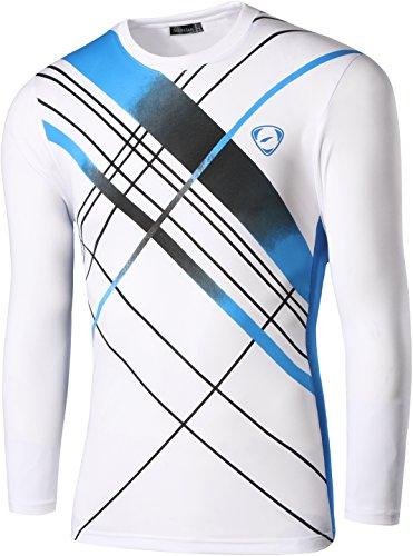 jeansian Herren Casual Long Sleeves Quick Dry T-Shirts Wicking Running Sport Tee Shirt Top LA184 LA196_White