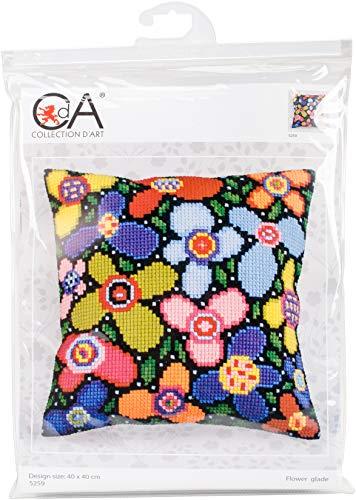 Collection D'Art Kreuzstich-Set, Motiv Blumen, 40 x 40 cm, Mehrfarbig -