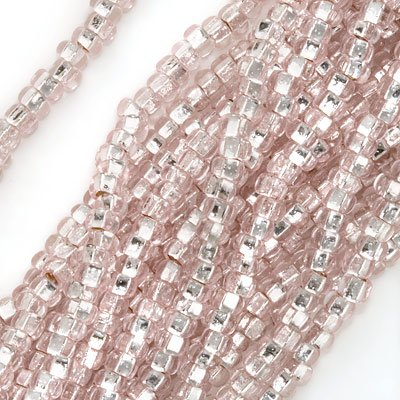 Czech Seed Beads 8/0 Silver Foil Lined Light Rose Pink (1 Ounce)