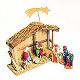 Handgearbeitete Weihnachtskrippe Krippe für Weihnachten mit 8 handbemalten Porzellan-Figuren: Jesuskind, Maria, Josef, die Heiligen Drei Könige, Ochse & Esel