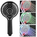 Garosa LED Duschkopf 3 Farbwechsel Wassersparend Handbrause mit Digital Temperatur Anzeigen Badezimmer Zubehör