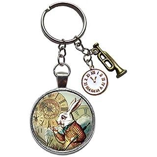 alice in wonderland charm key ring chain keychain aiw figure keyring white rabbit clock trumpet