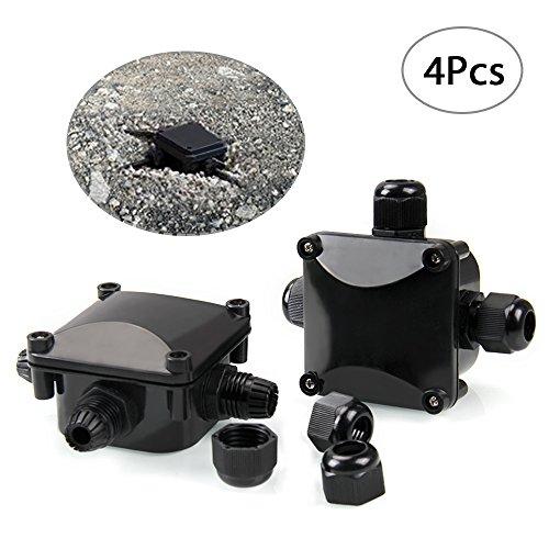 Infreecs 4x Abzweigdose Kabelverbinder Wasserdicht Erdkabel Verbindungsdose Kabelmuffe Verbindungsbox Verteilerdose Klemmdose IP68, Schwarz