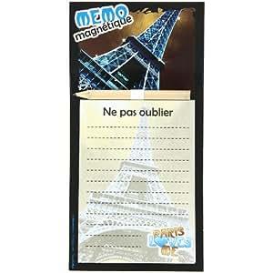 Paris -Memo Magnet Bloc Note Frigo Paris Tour Eiffel Bleu Strass