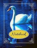 "Notebook: Beautiful White Swan Blue Writing Gift - Lined NOTEBOOK, 130 pages, 8.5"" x 11"""