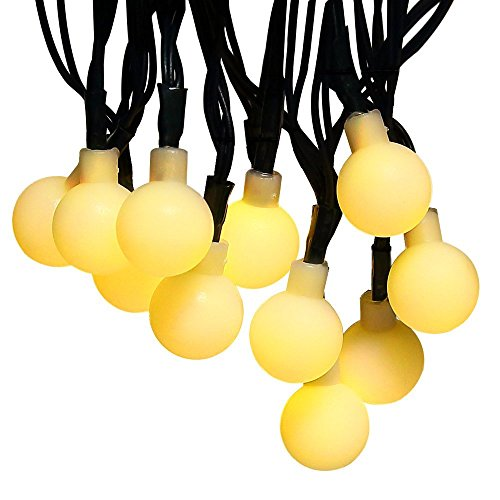Solar Lichterkette, 50 LED 23ft Außenlichterkette Wasserdicht Warmweiß Globe Ball Lichterketten Weihnachtsbeleuchtung für Außen, Garten, Patio, Hof, Haus, Bäume, Parteien, Jäten, Urlaub Dekorationen