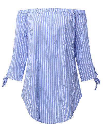 StyleDome Femme Chemise Coton Rayuré Col Bateau Epaule Nue Bustier Manches Longues Lâce Casual Shirt Blouse Haut Tops Bleu Clair