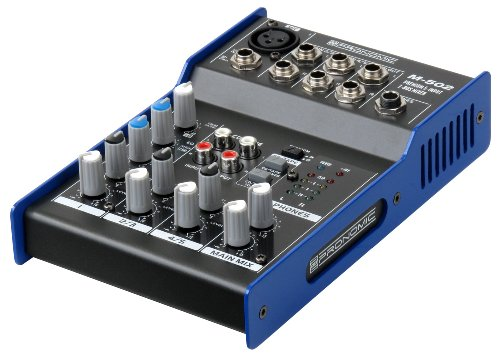 Pronomic M-502 Live/Studio Mischpult (1 Mono-Kanäle XLR/Klinke, 2-Stereo Kanäle, 3-Band-EQ, 48V Phantomspeisung)