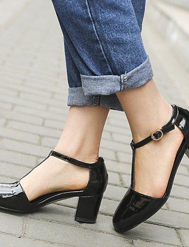 UWSZZ IL Sandali eleganti comfort Scarpe Donna-Sandali-Ufficio e lavoro / Formale / Casual-Punta squadrata-Quadrato-Di pelle-Nero / Rosso Red